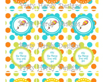 Dr. Suess 2.5 inch Favor Tags Oh The Places You'll Go