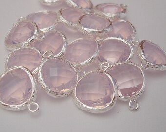 Rose Opal Silver Framed Glass Pendant Bezel Frame Necklace, Earrings,  Pendant, Jewelry,   16x13mm (2pcs)