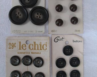 Four Cards of Dark Buttons for Your Art and Craft Projects