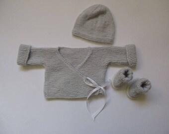 Bra-premature grey Merino and hat 32/34 weeks