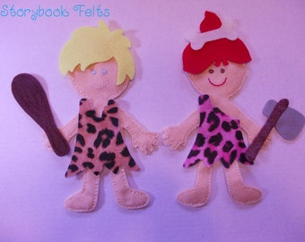 SHOP CLOSING SALE - Felt Doll Outfit Dress Up Set Cave Girl or Boy Without Doll Paper Doll Non Paper Doll