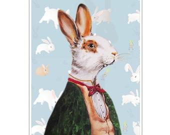 Rabbit Print, Rabbit Art Print, Rabbit Bunny Print, Rabbit Art, Bunny Print, Rabbit Wall Art, 8x10,Blue, Boys, Rabbit Artwork,Wall Decor