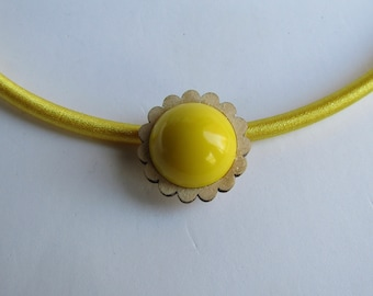 LC Silk 5mm Cord necklace with Wood frame Daisy and Vintage Lucite Yellow Dome Pendant Love it!
