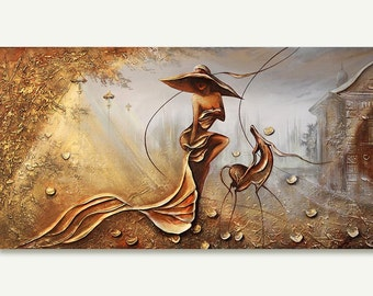 Night Wind Original Oil Painting landscape Art Deco gold oil art Beaux Arts Hand painted trade oil on canvas painting by Raen
