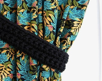One Pair of Solid Black Curtain Tie Backs, Curtain Tiebacks, Wool Blend Basic Black Drapery Holders, Crochet Knit, Ready to Ship in 2 Days