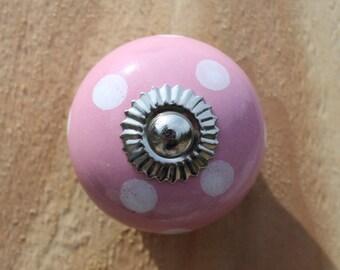 Pink Polka Dot Ceramic Drawer Knobs - Cabinet Knobs - (CK12)