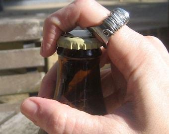 Small Sized Custom Sizing for  Silver  Beer Bottle Opener Ring Women Men