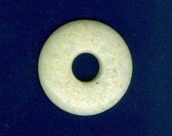 Yellow Jasper Focal, 40mm Yellow Lemon Jasper Gemstone PI Donut Pendant Focal Bead 1012T