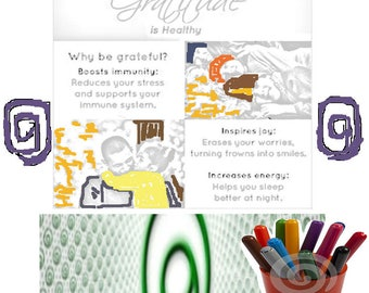 Inspirational Adult Coloring Page Gratitude is Healthy Printable Image