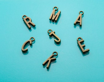 Extra Initials for Keychain, Bronze Initial Charms, Additional Initials, Custom, Personalized