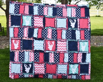 Woodland Bedding Twin Size Quilt - Pink / Turquoise / Navy Deer Quilt- Hunting Quilt - Woodland Quilt Girl Room Decor - Little Girl Bedding