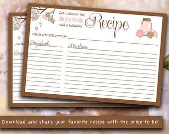 INSTANT DOWNLOAD Bridal Shower Recipe Card | 4 x 6 Mason Jar Recipe Card Printable | Blush Pink Chocolate Brown | Wedding Bridal Shower Gift