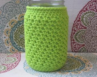 Crochet Mason Jar Cozy - Quart Jar Cover - Bottle Cozy - Quart Mason Jar Sleeve - 32oz Cover - Lime Green / Apple Green - Quart sized - Ball