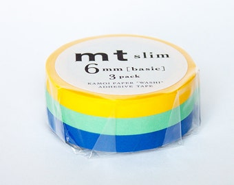 thin washi tape set - yellow, blue and green - mt slim [mt masking tape]