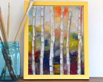 Modern Wall Art Decor, Birch Trees, Pasture, Trees, Landscape, Art Print from Original Oil Painting