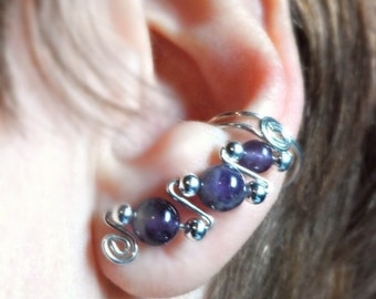 Natural Amethyst and Sterling Silver EarCuffs, pair, comfortable, a contemporary twist to clip-on earrings No piercings needed