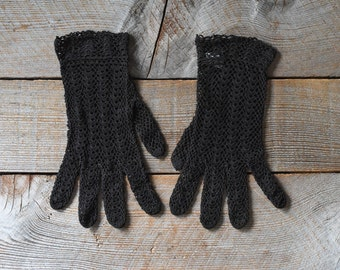 Vintage Gloves, Summer Gloves, Crochet Gloves, Dark Brown Summer Gloves, Gloves, Women's Vintage Fashion, Wedding Gloves