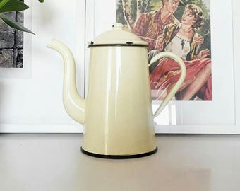 Coffee pot enamel yellow pale, France 1950