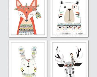 Woodland Tribal Animals Nursery Art, Woodland Print Set of 4, Nursery Tribal Decor, Tribal Nursery, Baby Tribal Print, Kids Woodland Art