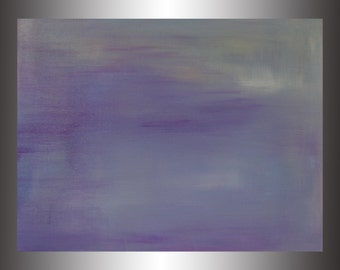 "Breezy.  Original Abstract Acrylic Painting on canvas board. 18"" x 24"" Purples, white, gold"
