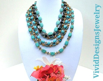 Turquoise Beaded Layered Statement Necklace - Beaded Bib Bubble Statement Necklace - Turquoise Necklace