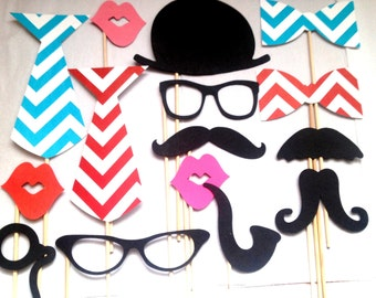 Wedding Photobooth Props - Photo Props - Wedding Photo props - Set of 15 - Red and Turquoise chevron Hipster  Set