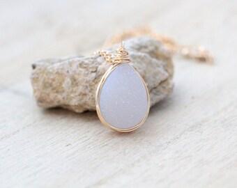 White Druzy Bezel Wrapped Necklace in Gold Fill, Teardrop Druzy Quartz, Gemstone  , Crystal Necklace - Cottontail