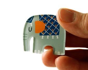 Elephant Brooch, Elephant Pin, Badge, Acrylic Brooch, Acrylic Glass