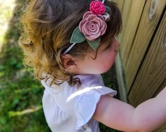 Pink and Coral Felt flower trio headband