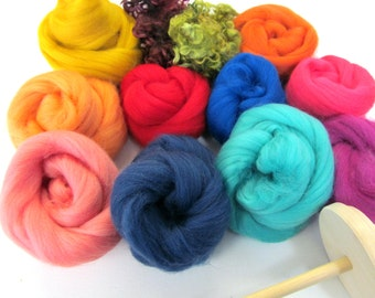 Drop Spindle Kit 200g - 7oz Fibres Learn to Spin your own Yarn Gift Set