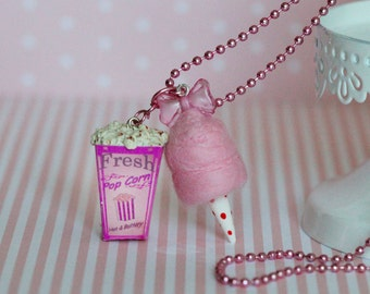 Carnival Food Necklace - Popcorn Necklace -  Cotton Candy Necklace - Candy Floss Necklace - Miniature Food Jewelry - Pink candy Necklace