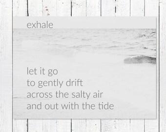 Yoga Printable Art | Digital Download | Inspiration Print + Beach Photography | Ocean Photography Print | Printable Beach Quote Art | Exhale