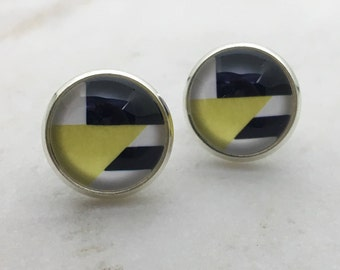 Yellow, black and white glass dome stud earrings. 12mm with surgical steel and nickel free posts