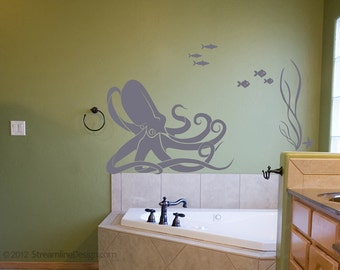 Octopus and Fish Underwater Scene wall decal   octopus wall art octopus decal nautical nursery ocean fish wall decals bathroom wall decor