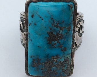 Sterling Silver Ring with gem grade Morenci Turquoise
