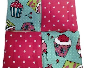 Quilted Coaster Set, Cupcake Coaster Set, Cupcake Drink Coasters, Drink Coasters, Beverage Coasters, Hostess Gift, Wedding Gift,