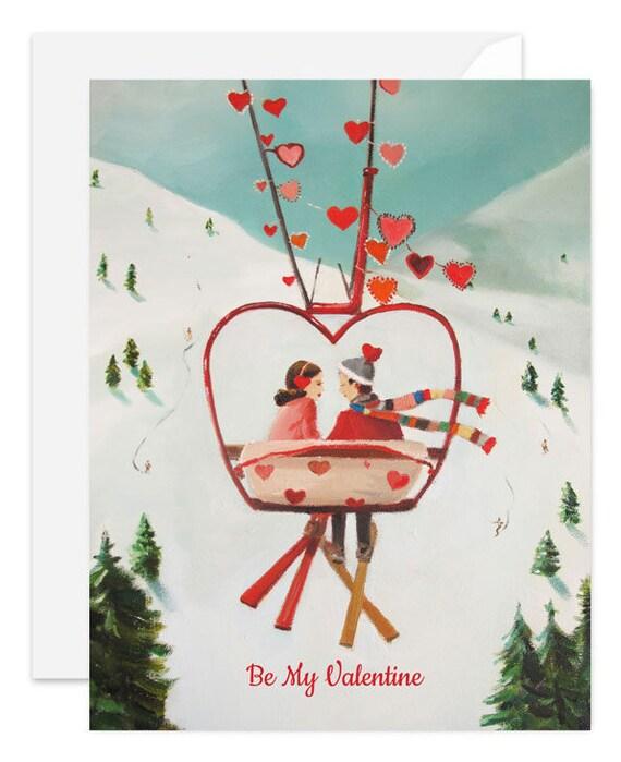 Ski Lovers. Valentine's Day Card. SKU JH1153