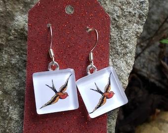 Sparrow Earrings Sailor Jerry Sparrows Vintage Sparrow Earrings Bird Earrings Rockabilly Earrings Nautical Earrings Tile Earrings