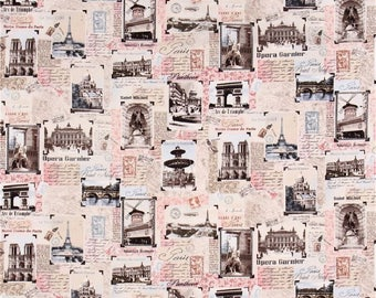 Tres Jolie Fabric Paris Landmarks Blush Postcards Timeless Treasures Cotton