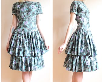 1950s Dress // Lilac Ruffle Polished Cotton Dress // vintage 50s dress