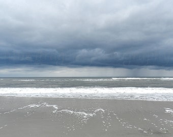 Storm Clouds Beach Photography, Neutral Beach Print, Fine Art Photography Navy Blue Grey Beach Art, Jersey Shore Nature Photography Coastal