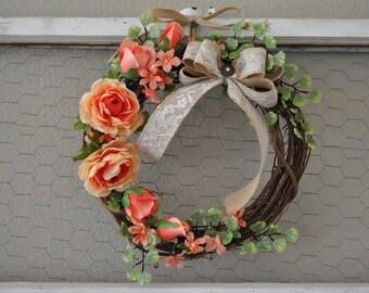 Wedding Wreath | Church Decor | Bridal Luncheon | Church Pew Decoration | Outdoor Wedding Decor | Burlap Ribbon Wreath | Rustic Wedding