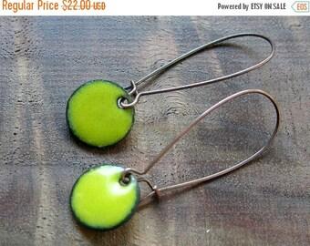 Yellow Dangle Earrings, Apple Yellow Copper Enamel Drop Earrings, Nickel Free Kidney Earwires, Citron Yellow, Handmade Earrings