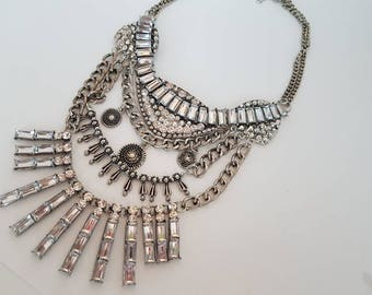 Statement Necklace Chunky Necklace Crystal Vintage Bib Necklace 1930s Necklace 1920S Necklace  Christmas Necklace Gatsby Necklace
