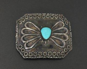 Vintage Southwestern Turquoise Sterling Silver Belt Buckle