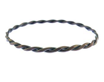 Thin Copper Bangle, Thin Copper Wire Bracelet, Thin Copper Bracelet, Twisted Copper Bracelet