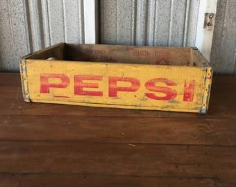 Vintage Pepsi Soda Crate - Wood Crate