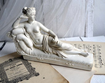 Large Vintage Reclining Woman Plaster Statue Paolina Borghese Venus Victorious Canova