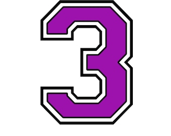 Iron on numberpurple 3 for tshirt transfer INSTANT DOWNLOAD