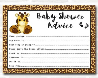 Baby Shower Games Giraffe Animal Print Advice To Parents Cards